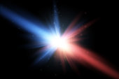 Collision of two forces with red and blue light. Vector.