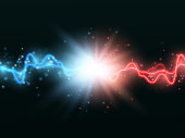 Collision of two forces with red and blue light. Vector versus concept
