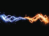 Collision of two forces with yellow and blue lights. Vector light effect. Realistic lightnings