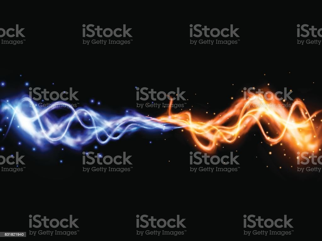 Collision of two forces with yellow and blue lights. Vector light effect. Realistic lightnings vector art illustration
