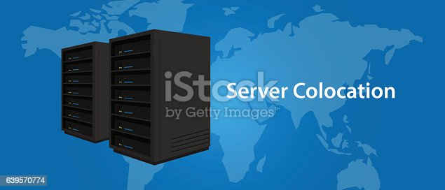 Colocation server web hosting services infrasctructure technology vector