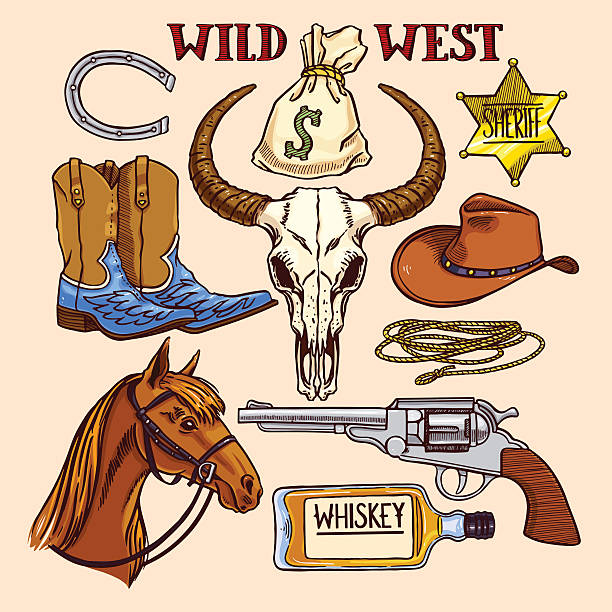coloful cowboy accessories vector art illustration