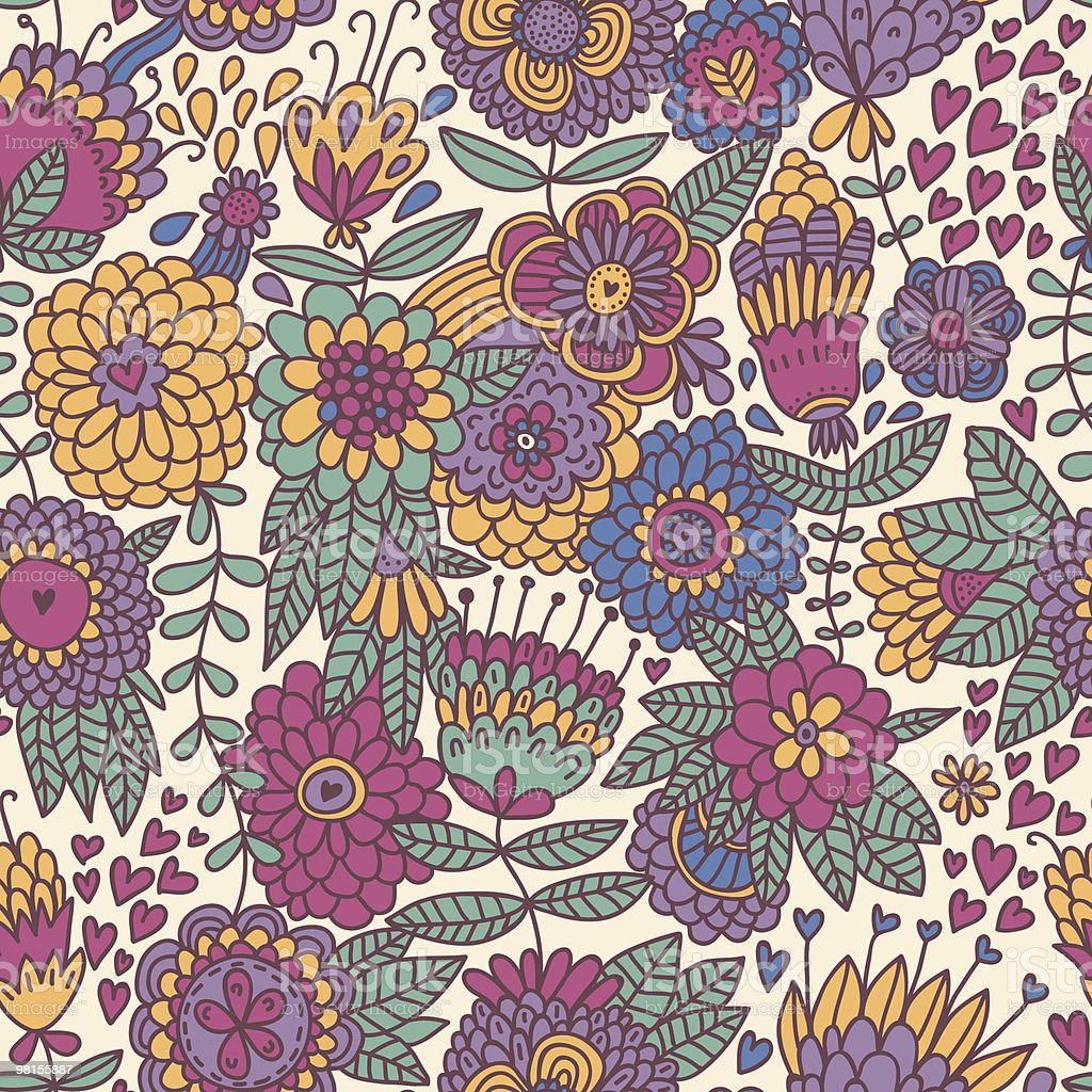 Coloful floral seamless pattern royalty-free coloful floral seamless pattern stock vector art & more images of backgrounds
