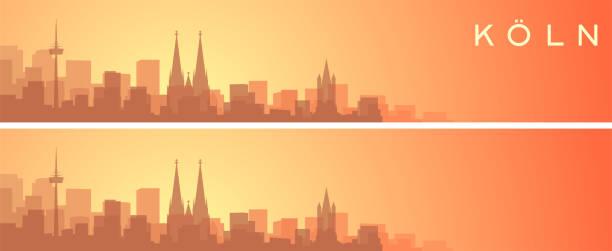 köln schöne skyline landschaft banner - köln stock-grafiken, -clipart, -cartoons und -symbole