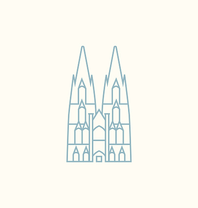 Cologne Cathedral colored line Illustration