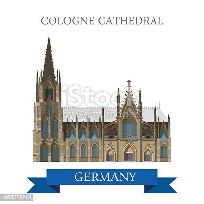 dom kolner catedral de col nia em ren nia do norte vestef lia alemanha desenhos animados plana. Black Bedroom Furniture Sets. Home Design Ideas