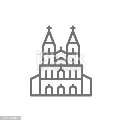 Vector Cologne Cathedral, landmark of German line icon. Symbol and sign illustration design. Isolated on white background