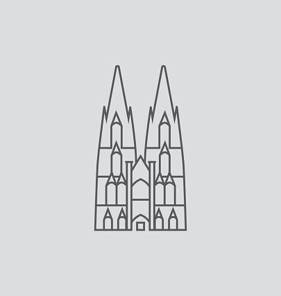 Cologne Cathedral line Illustration