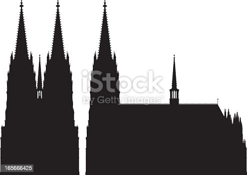 A highly detailed silhouette of Cologne Cathedral, with a front view and a side view.