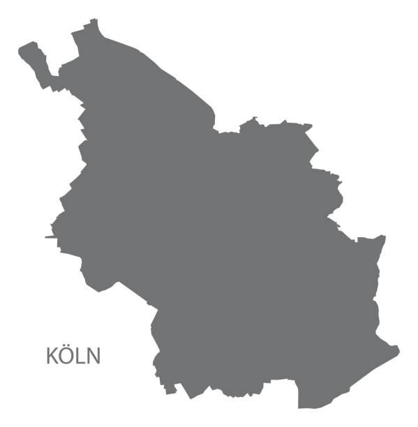köln-stadtplan mit bezirken grau abbildung silhouette form - köln stock-grafiken, -clipart, -cartoons und -symbole