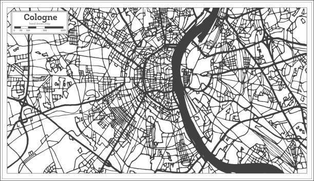 köln deutschland stadtplan im retro-stil. der umriß. - köln stock-grafiken, -clipart, -cartoons und -symbole