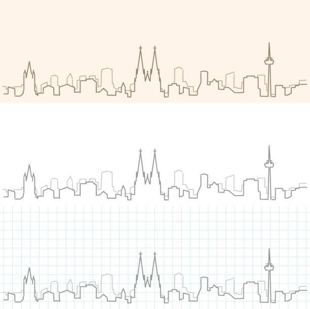 kölner hand gezeichnete skyline - köln stock-grafiken, -clipart, -cartoons und -symbole