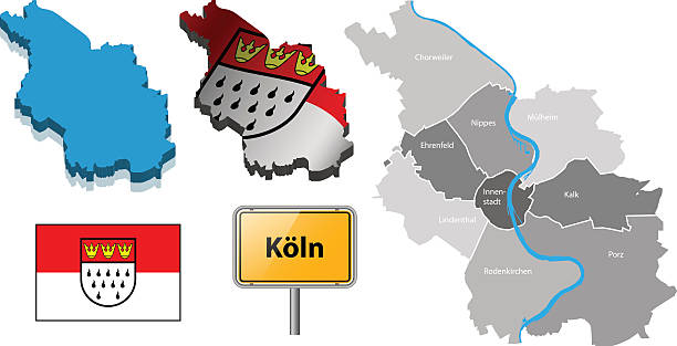 vektor-karte köln, deutschland - köln stock-grafiken, -clipart, -cartoons und -symbole