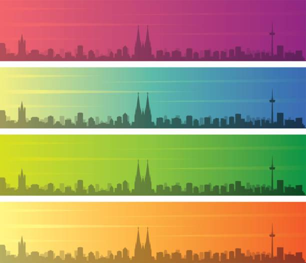 köln mehrfarbgradienten-skyline-banner - köln stock-grafiken, -clipart, -cartoons und -symbole