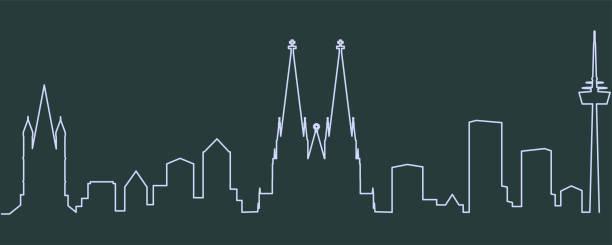 einzelne zeile skyline von köln - köln stock-grafiken, -clipart, -cartoons und -symbole
