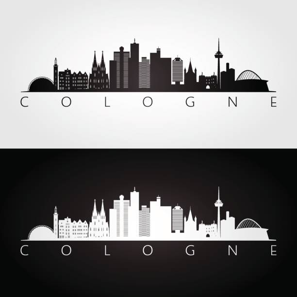 köln skyline und wahrzeichen silhouette, schwarz / weiß design, vektor-illustration. - köln stock-grafiken, -clipart, -cartoons und -symbole
