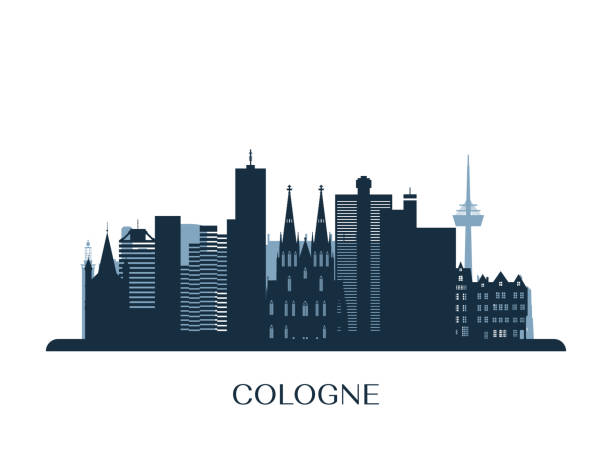 kölner skyline, monochrome silhouette. vektor-illustration. - köln stock-grafiken, -clipart, -cartoons und -symbole