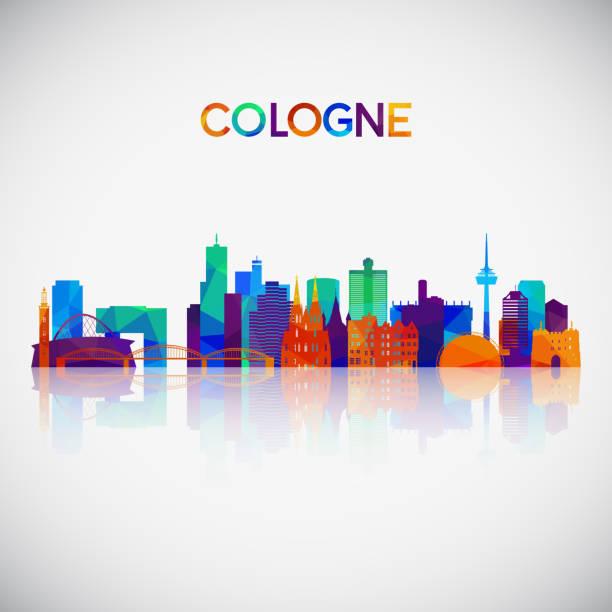kölner skyline-silhouette im bunten geometrischen stil. symbol für ihr design. vector illustration. - köln stock-grafiken, -clipart, -cartoons und -symbole