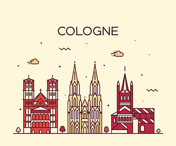 köln skyline linearen stil vektor illustration - köln stock-grafiken, -clipart, -cartoons und -symbole