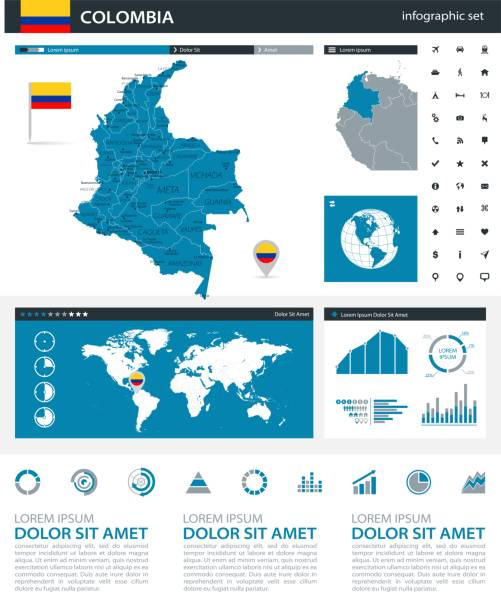 34 - kolumbien blau grau infografik q10 - bucaramanga stock-grafiken, -clipart, -cartoons und -symbole