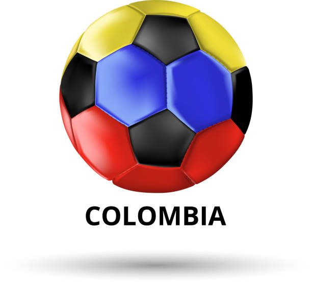Tarjeta con balon de futbol en colores de la bandera nacional de Colombia.  - ilustración. balón de fútbol - ilustración de arte vectorial 44cd6f253f12d