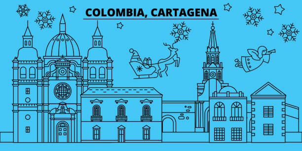 kolumbien, cartagena winter urlaub skyline. merry christmas, happy new year dekoriert banner mit santa claus.flat, umriss vektor. kolumbien, cartagena lineare weihnachten stadt abbildung - cartagena stock-grafiken, -clipart, -cartoons und -symbole