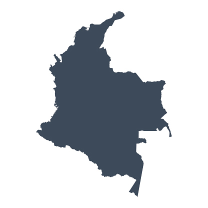 A graphic illustrated vector image showing the outline of the country Colombia. The outline of the country is filled with a dark navy blue colour and is on a plain white background. The border of the country is a detailed path.