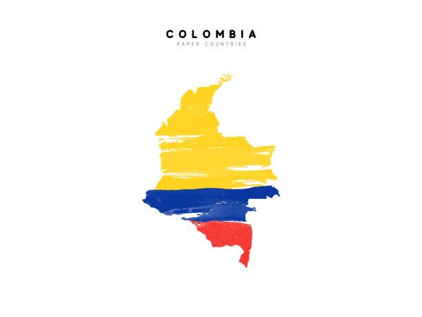 stockillustraties, clipart, cartoons en iconen met colombia gedetailleerde kaart met vlag van land. geschilderd in aquarelverf kleuren in de nationale vlag - colombia land