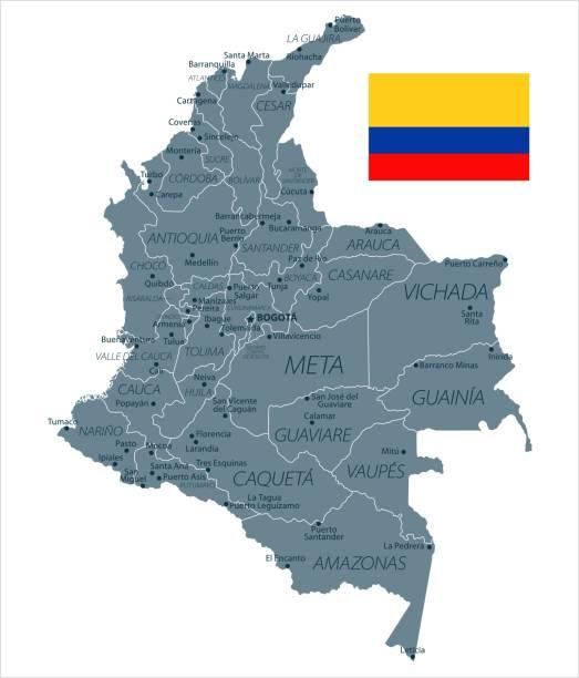 30 - kolumbien - graustufen isoliert 10 - bucaramanga stock-grafiken, -clipart, -cartoons und -symbole