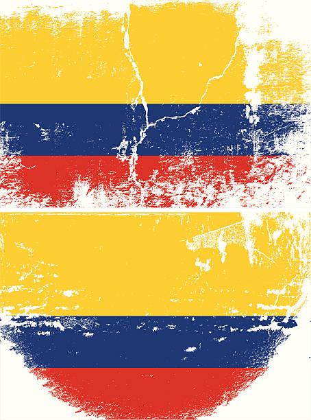 ilustrações, clipart, desenhos animados e ícones de bandeira de grunge colômbia - texturas desgastadas