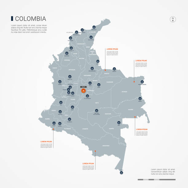 stockillustraties, clipart, cartoons en iconen met colombia infographic kaart vectorillustratie. - colombia land