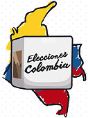 Colombia map over tricolor brushstrokes and electoral box that represent the election event in this country (texts written in Spanish).