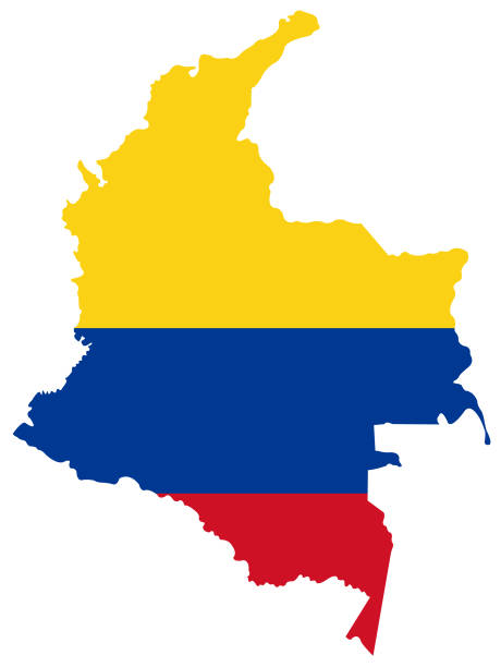 stockillustraties, clipart, cartoons en iconen met colombia-kaart en vlag - colombia land