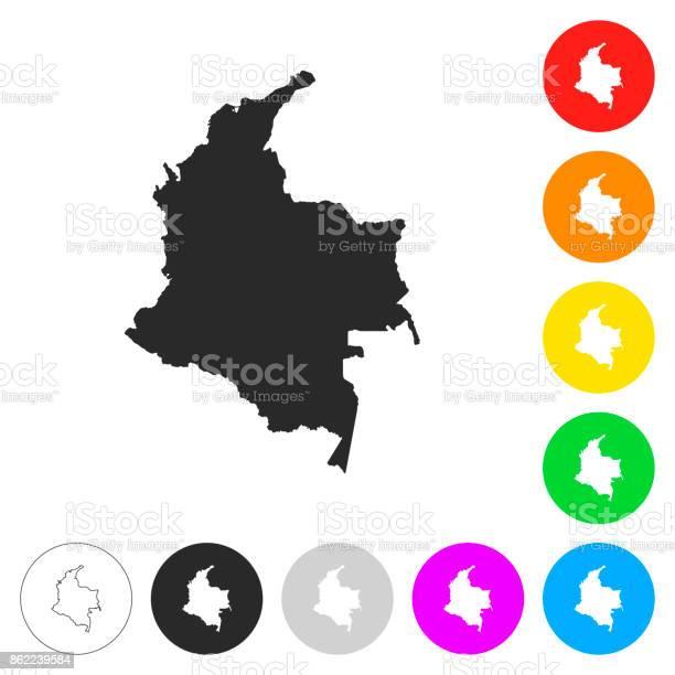 Colombiakaart Plat Pictogrammen Op Knoppen In Verschillende Kleur Stockvectorkunst en meer beelden van Abstract