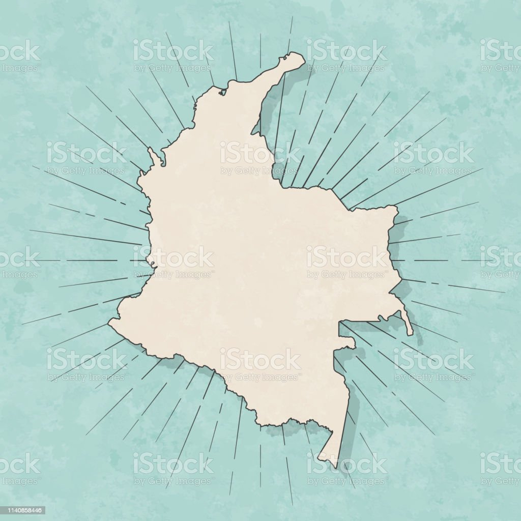 Map of Colombia in a trendy vintage style. Beautiful retro...