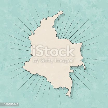 Map of Colombia in a trendy vintage style. Beautiful retro illustration with old textured paper and light rays in the background (colors used: blue, green, beige and black for the outline). Vector Illustration (EPS10, well layered and grouped). Easy to edit, manipulate, resize or colorize.