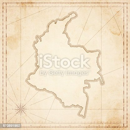 Map of Colombia in vintage style. Beautiful illustration of antique map on an old textured paper of sepia color. Old realistic parchment with a compass rose, lines indicating the different directions (North, South, East, West) and a frame used as scale of measurement. Vector Illustration (EPS10, well layered and grouped). Easy to edit, manipulate, resize or colorize. Please do not hesitate to contact me if you have any questions, or need to customise the illustration. http://www.istockphoto.com/portfolio/bgblue