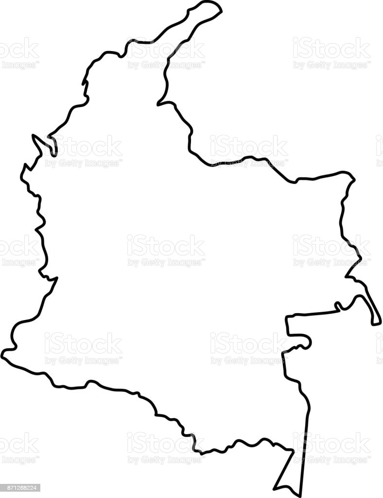 Colombia Map Of Black Contour Curves Of Vector Illustration Stock