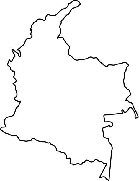 stockillustraties, clipart, cartoons en iconen met colombia-kaart van zwarte contour bochten van vectorillustratie - colombia land
