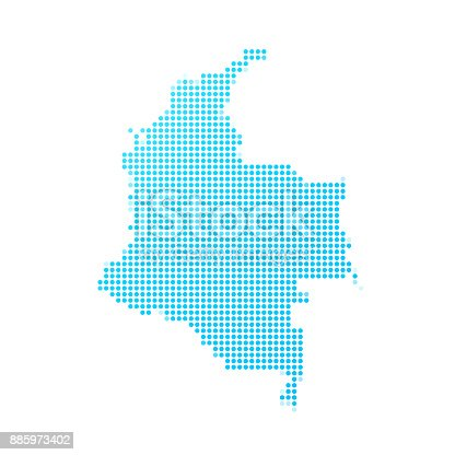Map of Colombia made with round blue dots on a blank background. Original mosaic illustration. Vector Illustration (EPS10, well layered and grouped). Easy to edit, manipulate, resize or colorize. Please do not hesitate to contact me if you have any questions, or need to customise the illustration. http://www.istockphoto.com/portfolio/bgblue
