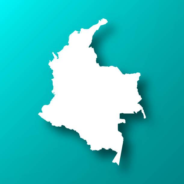 stockillustraties, clipart, cartoons en iconen met colombia kaart op blauw groene achtergrond met schaduw - colombia land