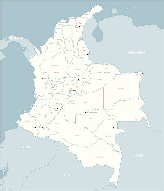 kolumbien karte - cartagena stock-grafiken, -clipart, -cartoons und -symbole