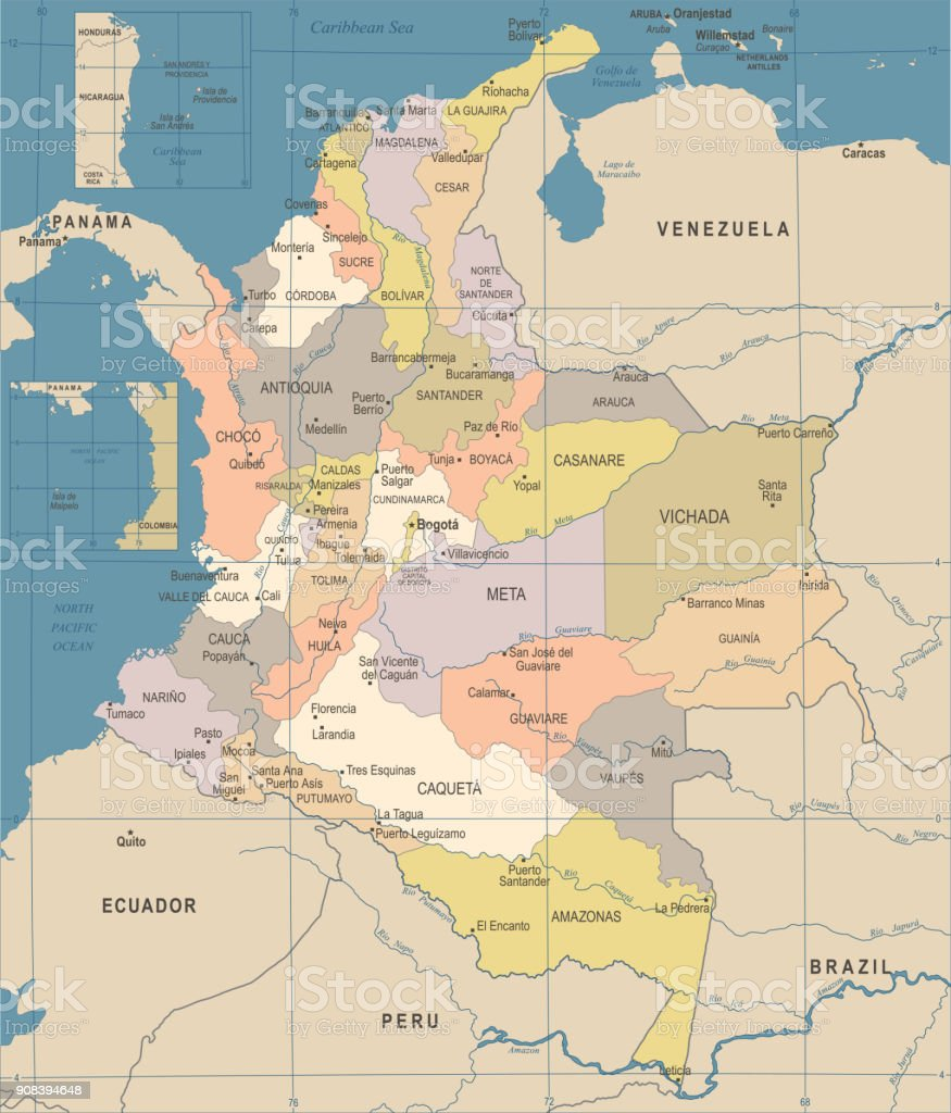 Colombia map vintage detailed vector illustration stock vector art colombia map vintage detailed vector illustration royalty free colombia map vintage detailed vector illustration sciox Images