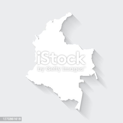 istock Colombia map with long shadow on blank background - Flat Design 1270861618