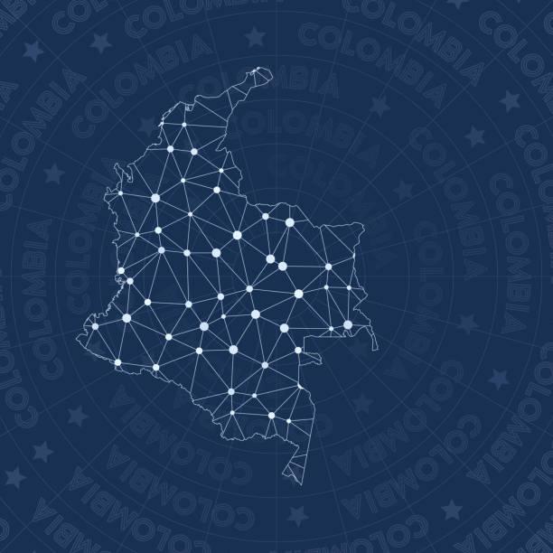 stockillustraties, clipart, cartoons en iconen met colombia netwerk, constellation stijl landkaart. - colombia land