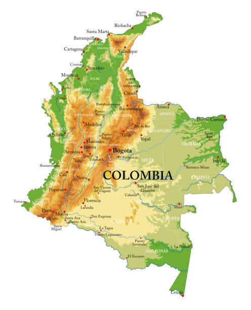 Colombia physical map Highly detailed physical map of the Colombia,in vector format,with all the relief forms,regions and big cities. pedreiro stock illustrations