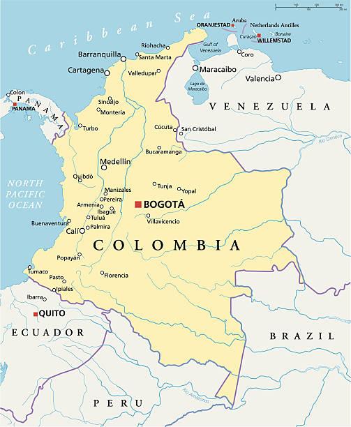 kolumbien politische karte - cartagena stock-grafiken, -clipart, -cartoons und -symbole