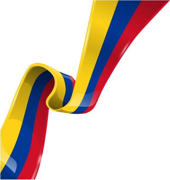 kolumbien-band-flagge auf weißem hintergrund - cartagena stock-grafiken, -clipart, -cartoons und -symbole