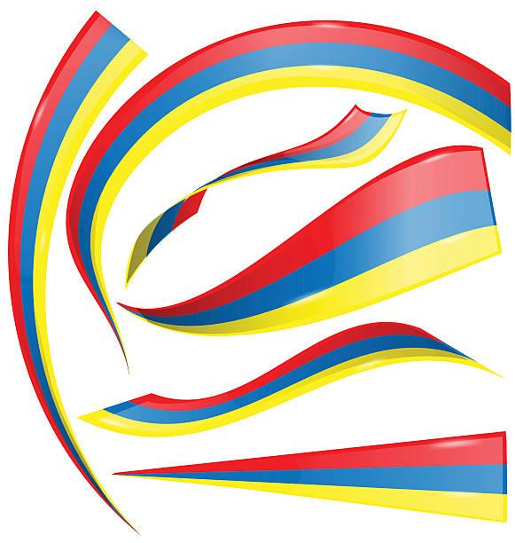 colombia set  flag vector art illustration