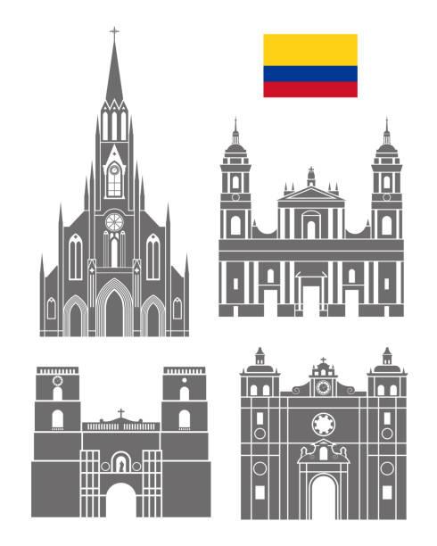 colombia entfernt. isolierte kolumbien architektur auf weißem hintergrund - cartagena stock-grafiken, -clipart, -cartoons und -symbole
